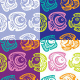 Set of seamless patterns with fish. Vector Royalty Free Stock Photo