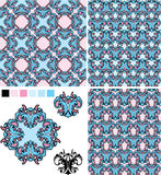 Set of seamless patterns - floral ornaments and el. Ements decor stock illustration