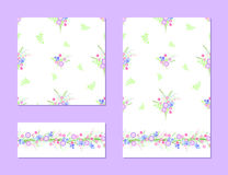 Set of seamless patterns with flowers Stock Images