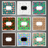 Set seamless patterns of flowers and birds Royalty Free Stock Photo