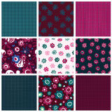 Set of seamless patterns with flowers Stock Photo
