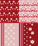 Set of seamless patterns with flowers and strips. Royalty Free Stock Photos