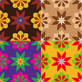 Set of seamless patterns of flowers Stock Images