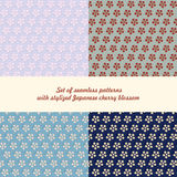Set of seamless patterns flowers. Set of seamless patterns with stylized Japanese cherry blossom. for poster, print, design Stock Illustration