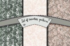 Set of seamless patterns with flowery and bands  decor Stock Images
