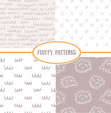 Set of seamless patterns. Set of seamless fluffy patterns Royalty Free Stock Image