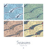 Set of seamless patterns with four seasons Royalty Free Stock Image