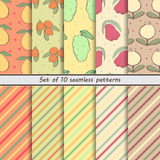 Set of seamless patterns of fruit. Set fruit seamless backgrounds, striped background, dots Royalty Free Stock Images