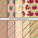 Set of seamless patterns of fruit Stock Images