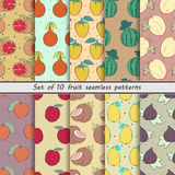 Set of seamless  patterns, fruit Royalty Free Stock Photo