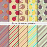 Set of seamless  patterns, fruit,naranjilla, nectarine, coconut, lemon, fig, scrap paper, background, hand drawn, dot, stripe, obl Royalty Free Stock Image