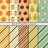 Set of seamless patterns of fruit Stock Image