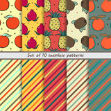 Set of seamless patterns of fruit Royalty Free Stock Images