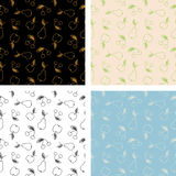 Set of seamless patterns of fruits. Set of seamless pattern of fruits. Sketch of an apple, pear and cherry Stock Photos