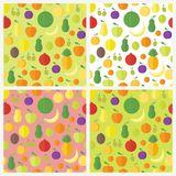 Set of seamless patterns with fruits and berries. Vector backgrounds Royalty Free Stock Photography