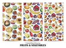 Set of seamless patterns with fruits, berries and vegetables drawn by hand with colored pencil Royalty Free Stock Photography