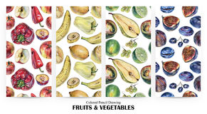 Set of seamless patterns with fruits, berries and vegetables drawn by hand with colored pencil Stock Photos