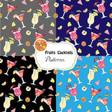 Set seamless patterns with fruits and cocktails Royalty Free Stock Image