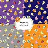 Set seamless patterns with fruits Stock Photo