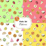 Set seamless patterns with fruits Royalty Free Stock Image