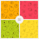 Set of seamless patterns with fruits. Vector seamless patterns with bananas, oranges, strawberries and apples Stock Photo