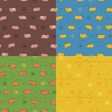 Set of seamless patterns with funny pigs Royalty Free Stock Images
