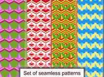Set seamless patterns of geometric 3D shapes. For design, wallpa Stock Image