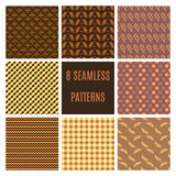 Set of seamless patterns. Set of Geometric Patterns with hand drawn elements, stripes and squares in green and brown. Perfect for wallpapers, textile, wrapping Stock Illustration