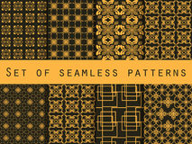 Set of seamless patterns. Geometric patterns. Black and yellow color. For wallpaper, bed linen, tiles, fabrics, backgrounds. Stock Photo