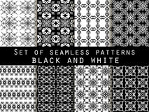 Set of seamless patterns. Geometric patterns. The pattern for wallpaper, tiles, fabrics and designs. Black and white. Royalty Free Stock Image