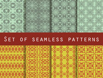 Set of seamless patterns. Geometric patterns. The pattern for wallpaper, tiles, fabrics and designs. Stock Images