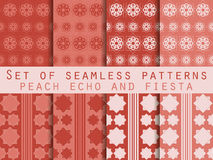 Set of seamless patterns. Geometric patterns. Peach echo and fiesta color. Color trend in 2016. Vector illustration. Set of seamless patterns. Geometric royalty free illustration