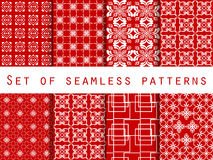 Set of seamless patterns. Geometric patterns. Red color. For wallpaper, bed linen, tiles, fabrics, backgrounds. Vector Royalty Free Stock Photos