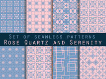 Set of seamless patterns. Geometric patterns. Rose quartz and serenity violet colors Stock Photos