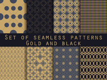 Set of seamless patterns. Geometric seamless pattern. Gold and b. Lack. Vector Royalty Free Stock Images