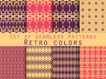 Set of seamless patterns. Geometric seamless pattern. Retro colo. Set of seamless patterns. Geometric seamless pattern. Abstract backgrounds. Vector Royalty Free Stock Photos