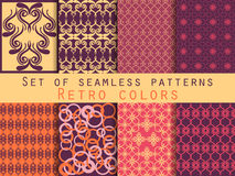 Set of seamless patterns. Geometric seamless pattern. Retro colo. Set of seamless patterns. Geometric seamless pattern. Abstract backgrounds. Vector Stock Photography