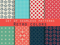 Set of seamless patterns. Geometric seamless pattern. Retro colo. Rs. Vector Stock Image