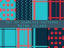 Set of seamless patterns. Geometric seamless pattern. Retro colo Stock Photos