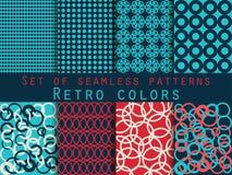 Set of seamless patterns. Geometric seamless pattern. Retro colo Stock Photo