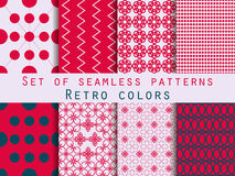 Set of seamless patterns. Geometric seamless pattern. Retro colo. Rs. Vector Royalty Free Stock Image