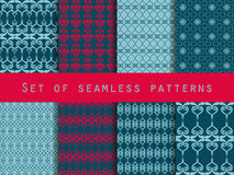 Set of seamless patterns. Geometric seamless pattern. Retro colors. Stock Image