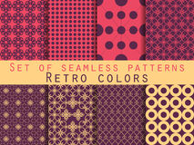 Set of seamless patterns. Geometric seamless pattern. Retro colors. Stock Images