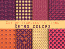Set of seamless patterns. Geometric seamless pattern. Retro colors. Set of geometric patterns in purple, yellow and orange Royalty Free Stock Photography