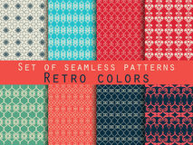Set of seamless patterns. Geometric seamless pattern. Retro colors. Set of geometric patterns in red, black and green Royalty Free Stock Photo