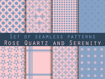 Set of seamless patterns. Geometric seamless pattern. Rose quart. Z and serenity violet colors. Vector Royalty Free Stock Photos