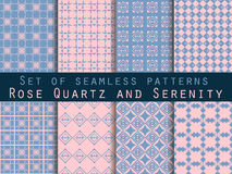 Set of seamless patterns. Geometric seamless pattern. Rose quartz and serenity violet colors. Stock Images