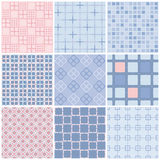 Set of seamless patterns. Geometric seamless pattern. Rose quartz and serenity violet colors. Set of 9 vector seamless patterns in trendy colors. Geometric Royalty Free Stock Photography