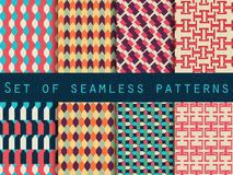 Set of seamless patterns with geometric shapes. Background pattern. Royalty Free Stock Image