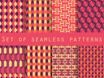 Set of seamless patterns with geometric shapes. The pattern for wallpaper, tiles, fabrics and designs. Royalty Free Stock Photo